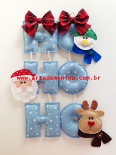 Do this with yoyos for the O's ho ho ho Christmas Projects, Felt Crafts, Diy And Crafts, Christmas Crafts, Christmas Makes, Noel Christmas, Homemade Christmas, Felt Christmas Decorations, Felt Christmas Ornaments