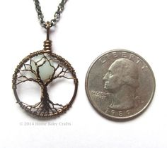 Relaxing Moon Tree of Life Necklace Tiny Tree by HomeBabyCrafts