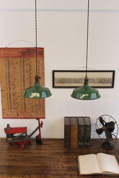 Pair of Vintage Industrial Green Porcelain Pendant Lights by DorsetFinds Industrial Farmhouse, Vintage Industrial, Pendant Lights, Display Ideas, Kitchen Remodel, Kitchen Ideas, Living Spaces, Cool Designs, Porcelain