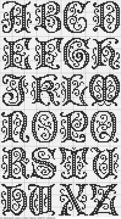 Cross stitch, or filet crochet - alphabet Cross Stitch Alphabet Patterns, Embroidery Alphabet, Cross Stitch Letters, Cross Stitch Charts, Cross Stitch Designs, Embroidery Patterns, Stitch Patterns, Cross Stitch Font, Loom Patterns