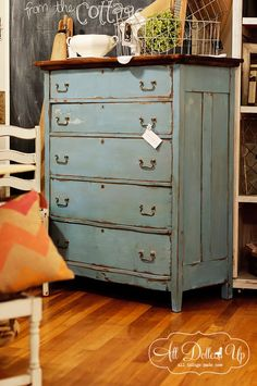 French enamel over Shutter Gray- original wood top restored with hemp oil  MMS Milk paint