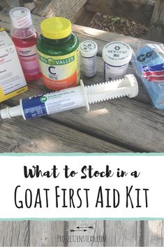 How to Stock a Goat First Aid Kit + Full List of Supplies! Project Zenstead Stocking a goat first aid kit will help you be more prepared for an emergency, illness or injury. Here's what we keep in our goat first aid kit! Raising Farm Animals, Raising Goats, Goat Feeder, Goat Playground, Keeping Goats, Goat Shelter, Goat Pen, Show Goats, Goat Care