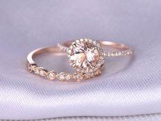 2ST Ehering gesetzt Morganit Verlobungsring 14k Rose von milegem