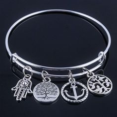Beautiful Silver Tree of Life Bangles - Adjustable and Expandable Charm Bracelet