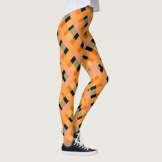 #Vibrant abstract orange black pattern leggings - #trendy #gifts #template