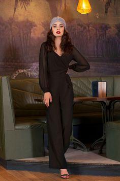 Vixen Rosemary Jumpsuit in Black 133 10 19473 20161005 0014 Vintage Inspired Fashion, 1940s Fashion, Boho Fashion, Vintage Fashion, Fashion Outfits, Vintage Mode, Style Vintage, Vintage Pins, Vintage Outfits