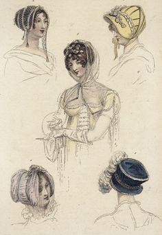 Headwear: June 1809 Ackerman's Repository. 1. Wimple or hood, 2. Silver net dress cap 3. yellow silk walking bonnet 4. promenade headdress, and 5. dress hat of cerulean blue.