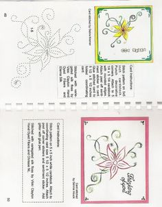fleurs et doodlings Hand Made Greeting Cards, Making Greeting Cards, Greeting Cards Handmade, Embroidery Cards, Embroidery Patterns, Card Patterns, Stitch Patterns, Embroidered Paper, Iris Folding Pattern