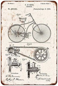 1890 Bicycle Patent Vintage Look Reproduction 8x12 Metal Sign 8120976 | Chico Creek Signs