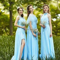 robe demoiselle d'honneur pas cher longue en mousseline bleu ciel 3 modèles décorée de broderie florale