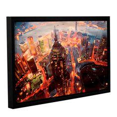 ArtWall Marcus/Martina Bleichner's Shanghai Skyline at Dusk, Gallery Wrapped Floater-framed