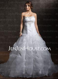 Wedding Dresses - $176.99 - Ball-Gown Sweetheart Chapel Train Organza Satin Wedding Dress With Ruffle Beadwork (002011379) http://jenjenhouse.com/Ball-Gown-Sweetheart-Chapel-Train-Organza-Satin-Wedding-Dress-With-Ruffle-Beadwork-002011379-g11379