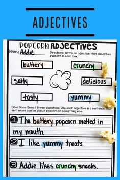 Teach students to use frequently occurring adjectives with this engaging hands-on resource. This bundle is full of activities including eight days of mini lessons, anchor charts, partner games, interactive notebook pages, task cards, a board game, and a quick assessment. This is a complete hands-on mini unit that will add fun and excitement to your classroom. #HollieGriffithTeaching #KidsActivities #HandsOnLearning