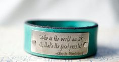 Who am I Alice in Wonderland -  Adjustable Leather Snap Cuff with Engraved Metal Plate on Etsy, $27.00