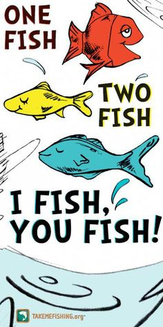 One fish, two fish, I fish, you fish! The funniest array of wearable family quotes! Check them out for a good laugh Walleye Fishing, Salmon Fishing, Carp Fishing, Kayak Fishing, Fishing Box, Fishing Tackle, Fishing Signs, Fishing Quotes, Fishing Humor