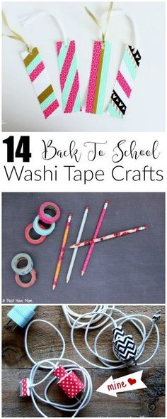 14 amazing DIY washi tape projects perfect for back to school! : 14 amazing DIY washi tape projects perfect for back to school! Diy Projects For School, Back To School Crafts, Diy School Supplies, Easy Projects, Art Supplies, Creative Crafts, Easy Crafts, Creative Activities, Art Activities