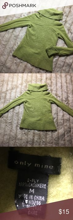 Only Mine 100% Cashmere Over Shoulder Sweater Sz medium x nice condition.  Couple fuzzies :) super soft  comfy sweater. only mine Sweaters
