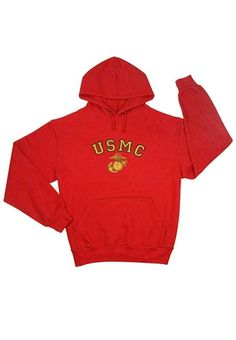 Red USMC Insignia Pullover Hooded Sweatshirt