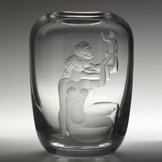 Vicke Lindstrand; Etched Glass Vase for Orrefors, c1937.