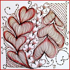 It's a String Thing #Zentangle Challenge #77, tile created by Lucy Banta