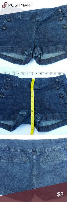 Sneak peak shorts dark blue denim Size Medium dark blue denim shorts, black button detail on pocket area sneak peak Shorts Jean Shorts