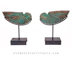 Original ammonite shell sculpture in turquoise patina with hints of blue and copper highlights. This sculpture is cradled on a dark mahogany steel museum mount. Named after one of the twin ichthyocentaurs that pulled Aphrodite's shell as she rose from the deep, Bythos means sea depth or profundity, bringing to mind the colors and mysteries of the deep. Add a classical element to your interior with this alluring sculpture. Created by artist Daina Ferguson