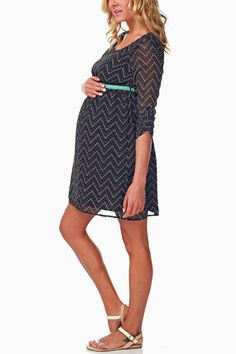 Navy-Blue-Chevron-Print-Belted-Maternity-Dress