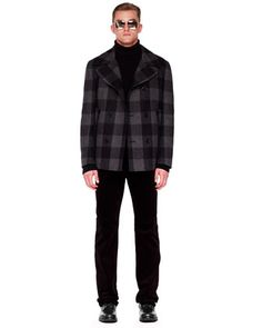 Michael Kors Plaid Pea Coat, Mock-Neck Zip Sweater & Stretch-Corduroy Pants - Neiman Marcus