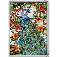 fake stained glass windows | SPECTACULAR *PEACOCK * STAINED GLASS WINDOW PANEL - eBay (item 3602178 ...