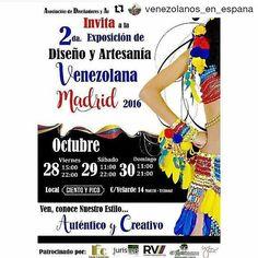 #Repost @venezolanos_en_espana with @repostapp  Para los #VenezolanosEnEspaña que estén en Madrid éste domingo está perfecto para asistir a la feria de diseño en el local @cientoypico.  Comida ropa accesorios joyería orfebrería con sello venezolano reunido todo en mismo lugar lo podrán conseguir solo hasta el día de hoy.  Un evento organizado por venezolanas: @expo_disenovzes @disenovenezolanoespana . Nos vemos allá??