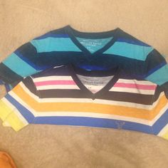 AMERICAN EAGLE OUTFITTERS 2 Stripe V Neck T-Shirts. Never worn. American Eagle Outfitters Tops Tees - Short Sleeve