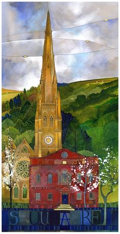 Square Chapel, Square Church - Halifax as seen through Kate Lycett's eyes. ltd edition giclee print by Kate Lycett at Heart Gallery. Exciting Times Ahead, West Yorkshire, Art For Art Sake, Place Of Worship, Art And Architecture, Beautiful Landscapes, Art Images, Color Combos, Home Art