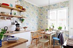 papel pintado en tonos claros - 6 Cosas que tienes que saber antes de poner papel pintado en tu cocina