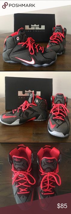 """Nike Lebron 12's """"Court Vision"""" Lebron 12's in black and crimson orange colorway, in great condition, there is a dark spot on the back of the right shoe on the clear part (shown in picture) and very minor wear to the inside of the left shoe (also shown in picture). Overall condition 9/10. Men/youth size 6 and would fit a women's 8. Nike Shoes Athletic Shoes"""