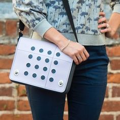 Did you know the Auxiliary Dot Grid (pictured) came to be after a customer ordered the very first custom one after seeing it on the Sedan tote? When it came back from our seamstress, we loved it so much we decided to make a batch for the shop. Y'all...
