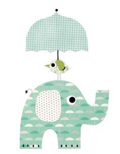 Elephant bird with an umbrella Nursery Artwork Print Baby Room Decoration Kids Room Decor Yellow and Grey Nursery // Gifts Under 20 art wall