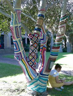knitted tree,this person and the person that knitted the shopping cart need to get together.