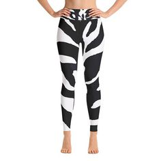 Zebra Animal Horse Print Black White Artistic Yoga Pants