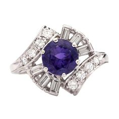 GIA Natural Violetish Blue Sapphire Ring | From a unique collection of vintage cocktail rings at http://www.1stdibs.com/jewelry/rings/cocktail-rings/