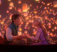 In the movie Tangled, Rapunzel and Flynn meet when he accidentally lands in her tower. He is a highly attractive thief and she is a lovely trapped young lady who wants to escape from her mother's grip. They go on an adventure to see the kingdom's lanterns annual rising. When they get there, they start falling for each other. Tangled has some amazing scenery and the story is very good. It also features the voices of singer and actress Mandy Moore and actor Zachary Levi as Rapunzel and Flynn.