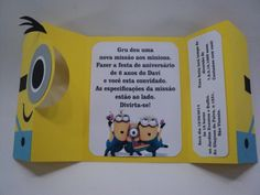 Personalize Artes e Convites - Convite Minions Unicorn Themed Birthday, Minion Birthday, First Birthday Parties, First Birthdays, Minion Ornaments, Minion Card, How To Make Scrapbook, Party Themes For Boys, Baby Shower Invitation Cards