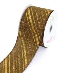 LUV RIBBONS by Creative Ideas 2-1/2-Inch Canvas Glitter Stripes Ribbon, 10-Yard, Brown -- To view further for this item, visit the image link.