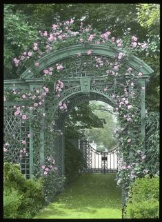 Rose arbor arch at Sunken Orchard, Oyster Bay, New York. Once one of the most beautiful gardens on the north shore of Long Island's Gold Coast, only fragmented ruins remain. Please see previous post for more on Sunken Orchard. Garden Archway, Garden Arbor, Garden Gates, Garden Landscaping, Garden Entrance, Garden Benches, Entrance Gates, Herb Garden, Landscaping Ideas