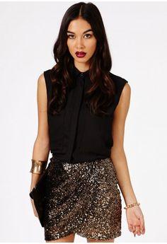 Jadzia Sequin Mini Skirt - Skirts - Mini Skirts - Missguided