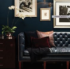 Elegant Style living room decoratin ideas with black leather sofa