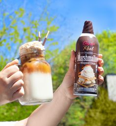 Turn Friday into Fri-YAY with iced coffee topped with Toasted Marshmallow Whipped Cream! Who wants one? Lactose Free, Dairy Free, Cookies Light, Coconut Whipped Cream, Toasted Marshmallow, Banana Split, Whipped Topping, Frappe, Natural Flavors