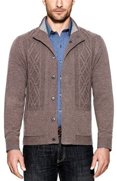The BRECKENRIDGE is a classic cardigan that's been thoroughly updated and redefined. It's made of plush wool-and-cashmere yarns, with 7 snap buttons in gunmetal, 2 front pockets; and a pair of bold cables placed front and center. The heathered-taupe version sports a heathered-oatmeal knit inside the collar, while the navy sweater's neckline is lined with burgundy. Either one would be perfect to have on hand, come the Fall. #mondouomo #naples #breckenridge #wool #cashmere #menswear #fashion