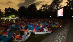Cartelera de Lanchacinema en el Lago de Chapultepec