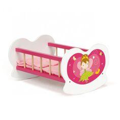 Mobilier de poupée. Berceau en bois pour jouer à la maman et coucher sa poupée. Graphisme féerique qui ravira les petites filles. Livré avec matelas et oreiller. Idéal pour aménager une vraie chambre de bébé pour ses poupées et passer des heures à jouer à la maman. Produit conçu pour une poupée de 40 cm (non fournie).