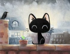 Through my drawings are also stories I want to share. Illustration Artists, Cute Illustration, Kitten Drawing, Art Graphique, Cute Images, Cat Art, Cute Wallpapers, Illustrators, Character Art